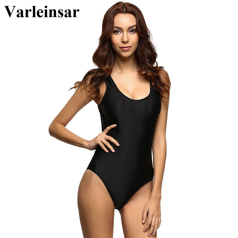 9 Colors S - 6XL Plus Size Scoop Back 2019 Women Swimwear One Piece Swimsuit Female Bather Bathing Suit Swim Monokini Lady V128
