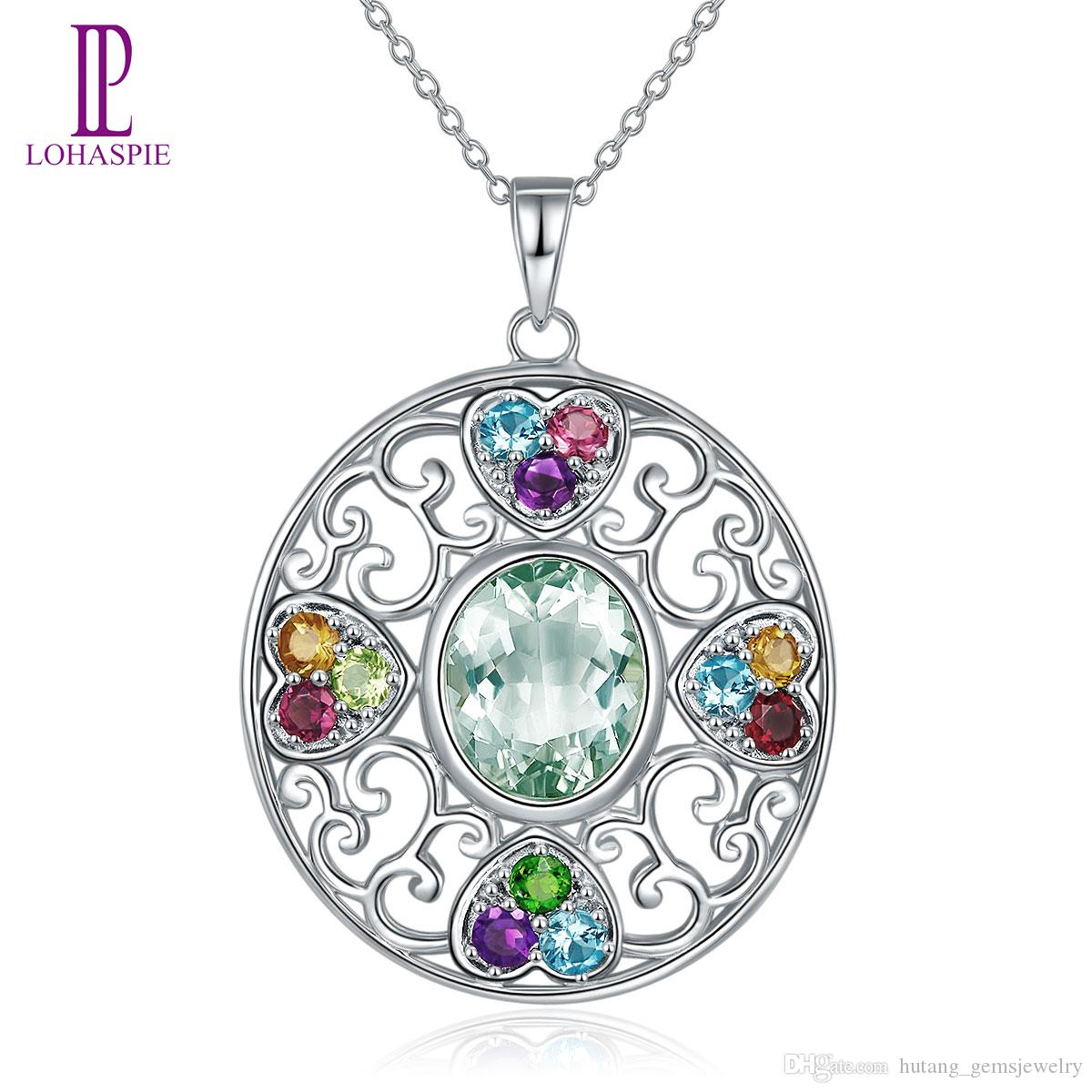 Multi Stone Jewelry Natural Gemstone Green Amethyst Garnet Solid 925 Sterling Silver Pendant Necklace with 18 inches Chain Fine Jewelry Gift