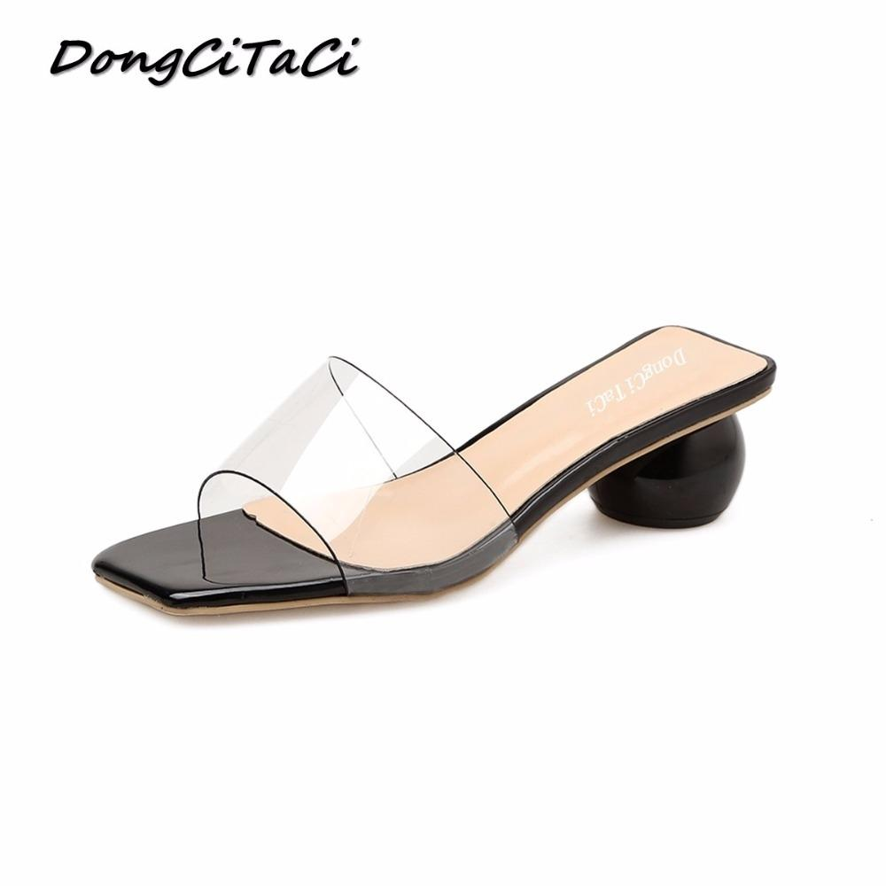 DongCiTaCi Summer Women High Heels Sandals Shoes Woman Thick bottom Slippers Ladies Fashion Transparent Sexy Square Toe SandalsMX190830
