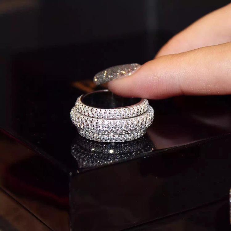Wieck mayor-Joyería de lujo completa 5A Tiny circonio cúbico Tamaño 925 Topaz blanco Mujeres compromiso de la boda de la banda Regalo Anillo 5-11