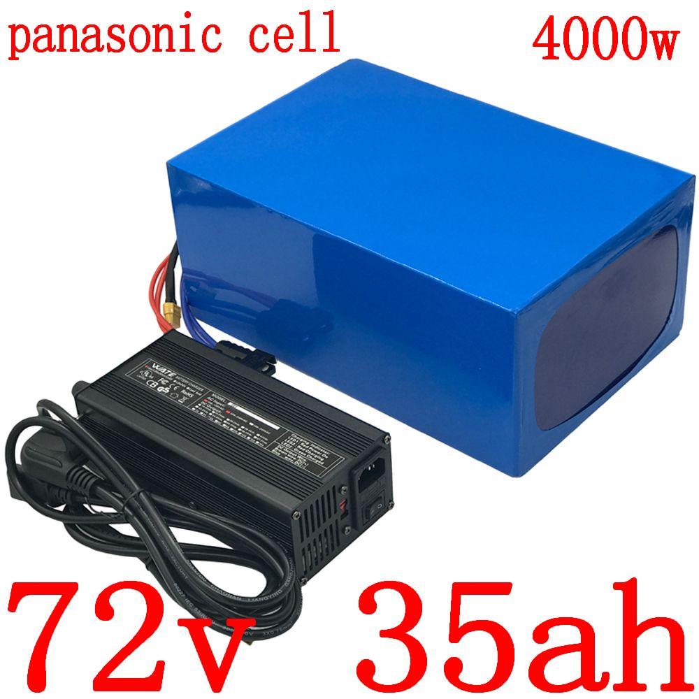 72V pil 3000W 4000W elektrikli scooter 35AH bisiklet lityum kullanımı panasonic hücre