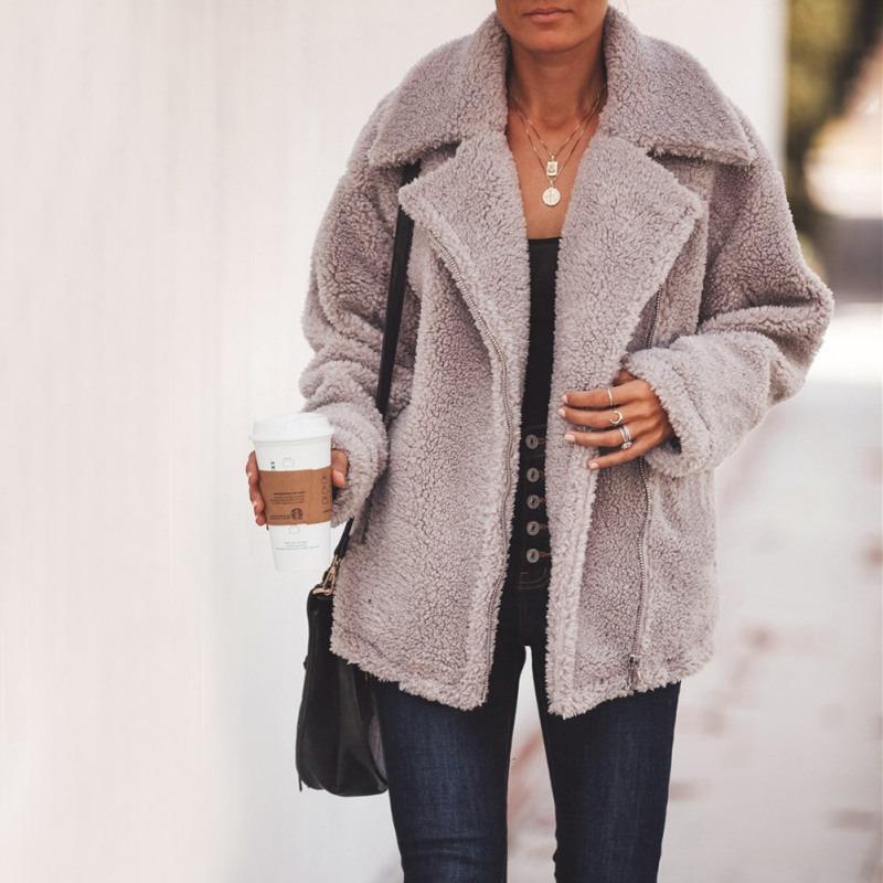 Le donne caldo cappotto di lana Outwear risvolto tasca zip Maniche lunghe Fashion Jacket