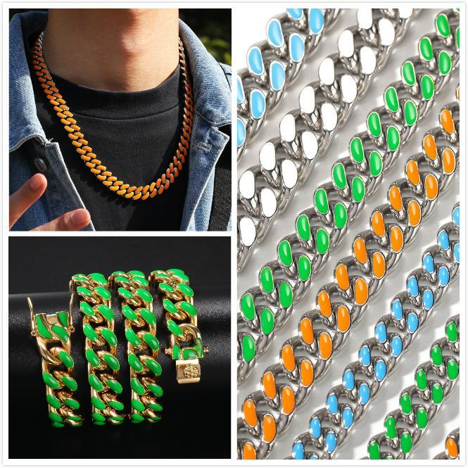 New 12mm 8 Colors New Fashion Gold Colorful Enamel Cuban Link Chain Mens Personalized Choker Necklace Hip Hop Rapper Jewelry Gifts for Men