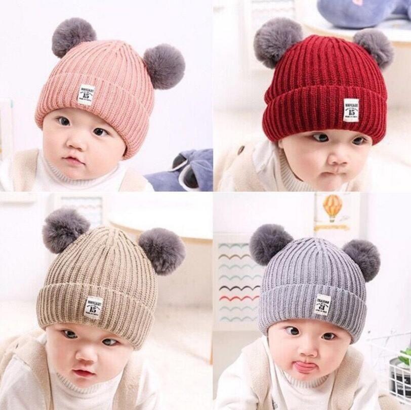 Осень зима партия шляпа детская двойной мяч вязаная шапка мальчики девочки ткань стандартная шерстяная шапка детские теплые новые подарки
