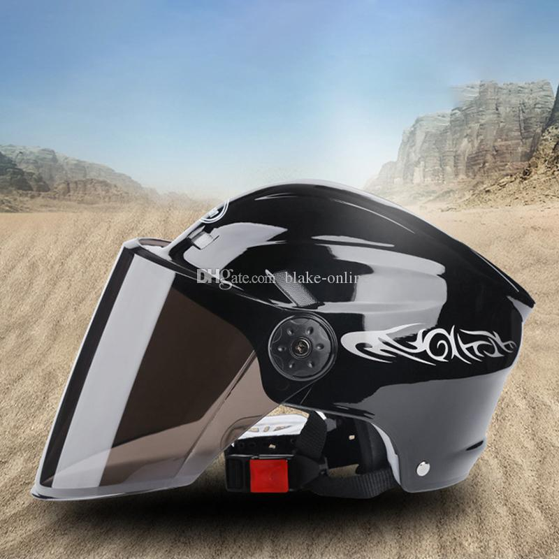 Motorrad Helm Open Face Visier Sonnencreme Helme Black Racing Off Road Elektromotor Motorrad Radfahren Helme