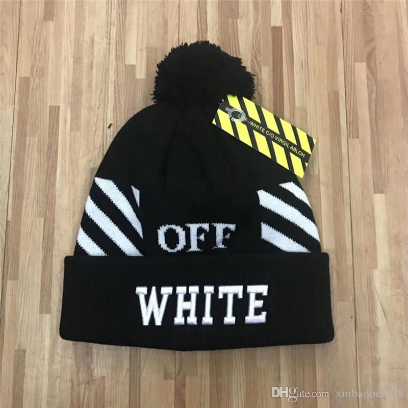 الجملة أحدث تصميم جودة عالية التطريز خريف شتاء أسود أبيض بيني قبعة للجنسين الدفء محبوك الدافئة الجمجمة قبعة بيني العلامة التجارية