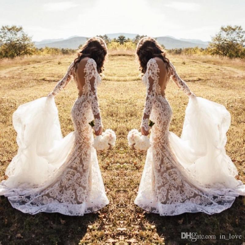 Vestido de novia de encaje de ilusión de diseño moderno 2020 Vestido de novia de manga larga con espalda descubierta Vestidos de novia sexy de sirena Tamaño personalizado