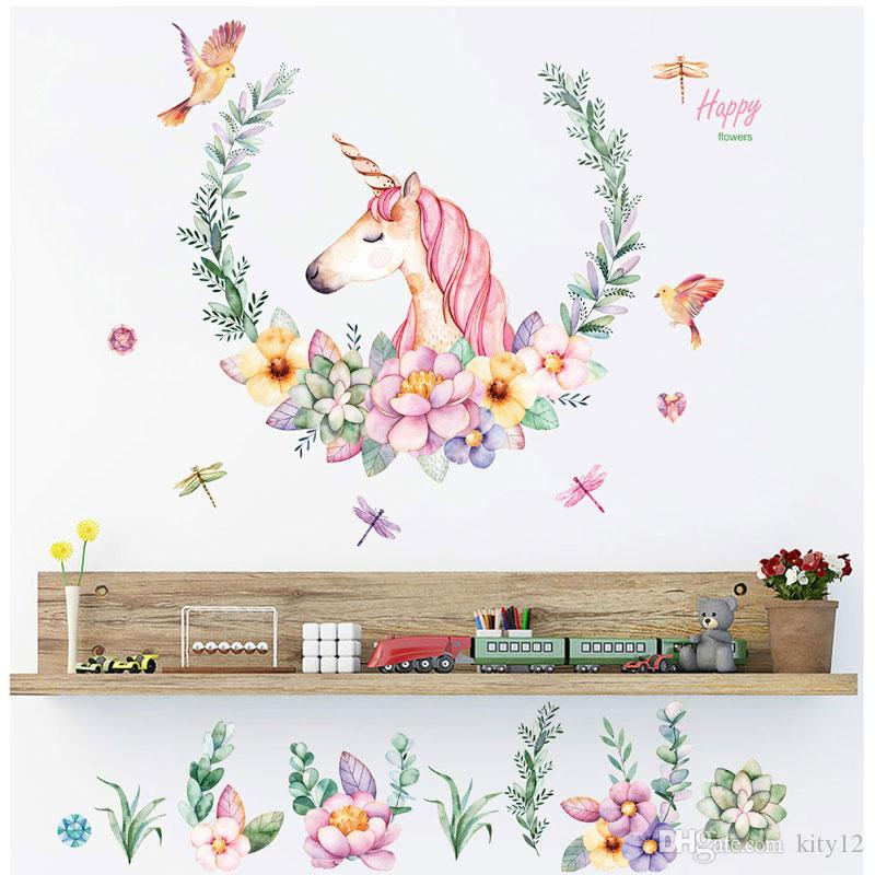 New Cartoon Unicorn Wall Stickers Bedroom Living Room Sofa Background Home Decorative Removable Wallpaper Free Shipping