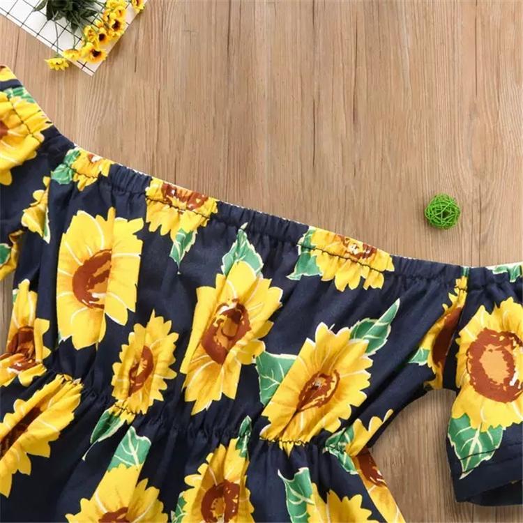 Vestido Summer Girl girassol impressão Off The Shoulder Bohemian Praia vestido Little Girls Clothing Mostarda bebê veste amarela Kid DHL TFJ469