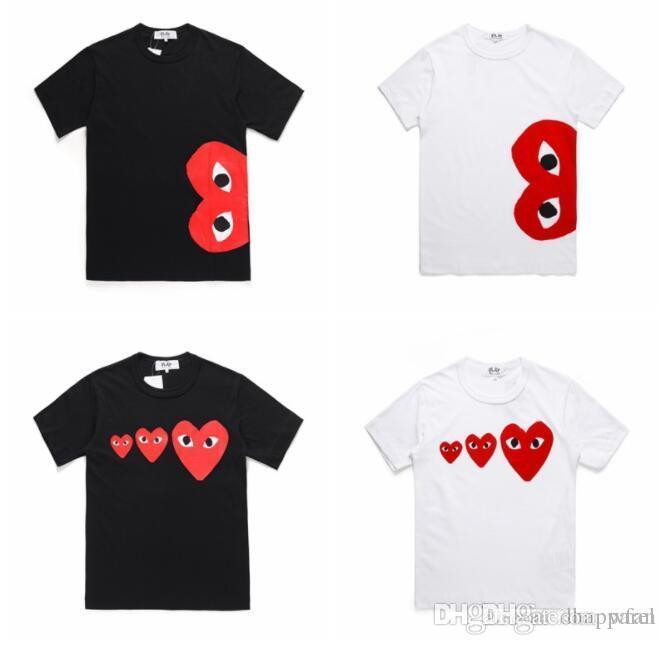 Nouveau StyleMen Femmes talonnage Court Noir Blanc manches T-shirts Tide amant en coton col rond rapide T-shirts occasionnels secs