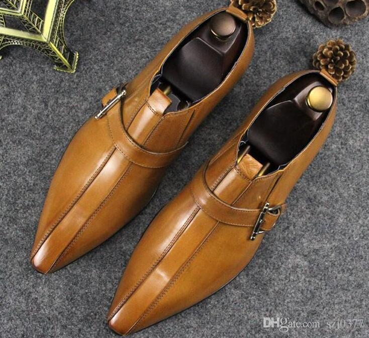 Neue Designer Männer England Kleid Lederschuhe Rindsleder spitzen Zehen Luxus Schnalle Rote Unterseite Bürohochzeitsfest Wohnungen Faulenzer Leder Schuhe