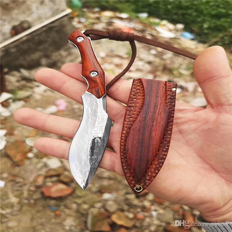 Trasporto veloce Damasco fissa Maniglia Lama VG10 Damasco Steel Blade linguetta completa Rosewood Con Legno Fodero