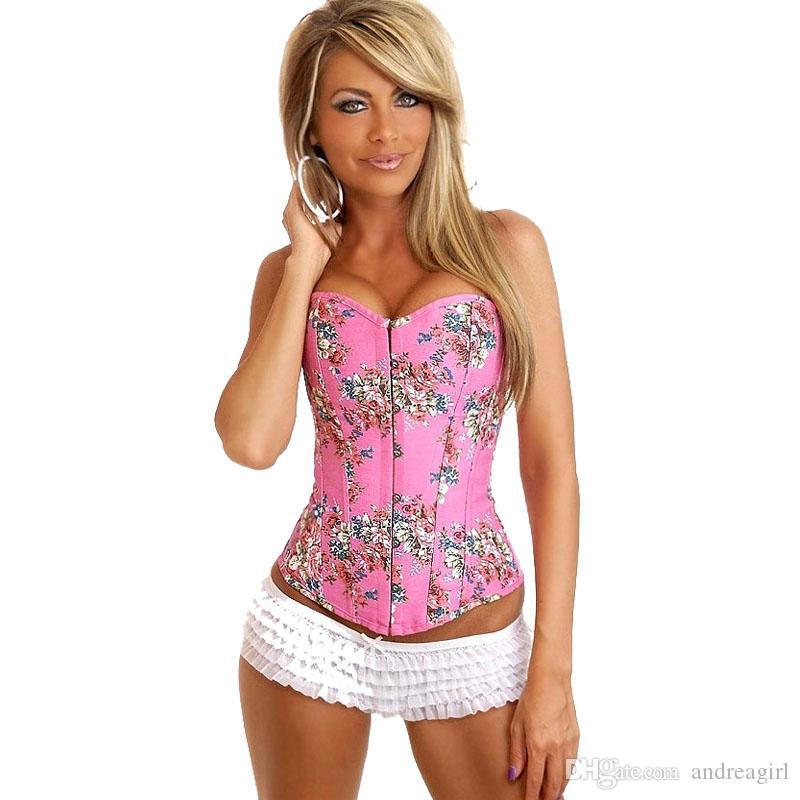 Spedizione gratuita!! Floreale sexy di fantasia gotica del denim del Burlesque del corsetto delle donne del corsetto di pizzo Torna sexy della biancheria di colore rosa 8910