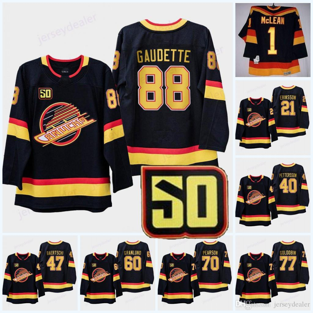 50th Anniversary patch Vancouver Canucks 6 Brock Boeser 26 Antoine Roussel 31 Anders Nilsson 40 Elias Pettersson 53 Bo Horvat Hockey Jerseys