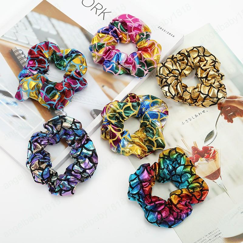 New Colorful Hair Scrunchies Print Scrunchie Women Elastic Hair Bands Girls Headwear Ponytail Holder Hair Accessories