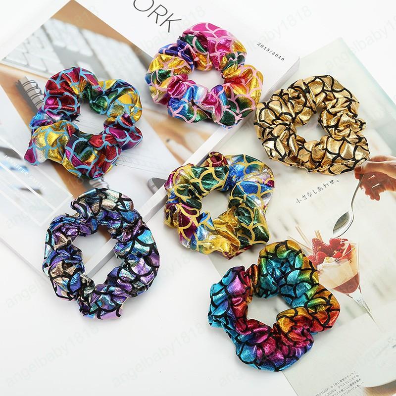 New Colorful Hair Scrunchies Print Scrunchie Women Elastic Hair Bands Girls Headwear Ponytail Holder Hair Accessories