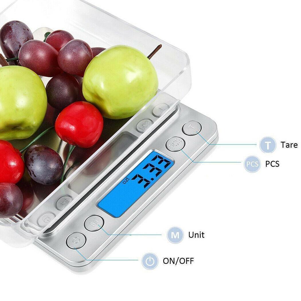 3000g / 0.01g numérique intelligent multifonction en acier inoxydable Bijoux Cuisine alimentaire Écran géant LCD multifonction numérique