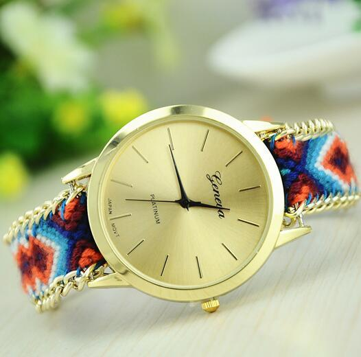 Fashion Handmade Weave Rope Bracelet Women Watch Colorful Geneva Hand-Woven Watch Ladies Quarzt Watch Christmas Gift