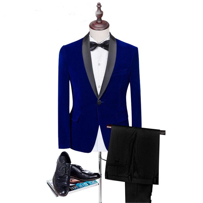 Personnalisez vos costumes de noces en velours bleu à la robe de mariée noire de garçon d'honneur en automne et en hiver de style hommes formel costume de soirée de bal d'étudiants (veste + pantalon + cravate) 885