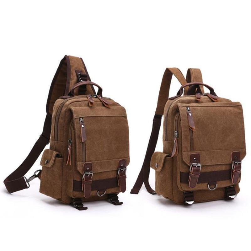 Canvas Crossbody Bags For Men Women Retro Leather Military Messenger Chest Bags Shoulder Sling Bag Large Capaccity Handbag Y19061903