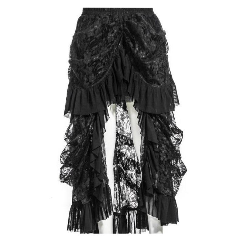 Women Gothic Steampunk Style Lolita Skirt Female Fashion Lace Solid Color Long Skirt Party Evening