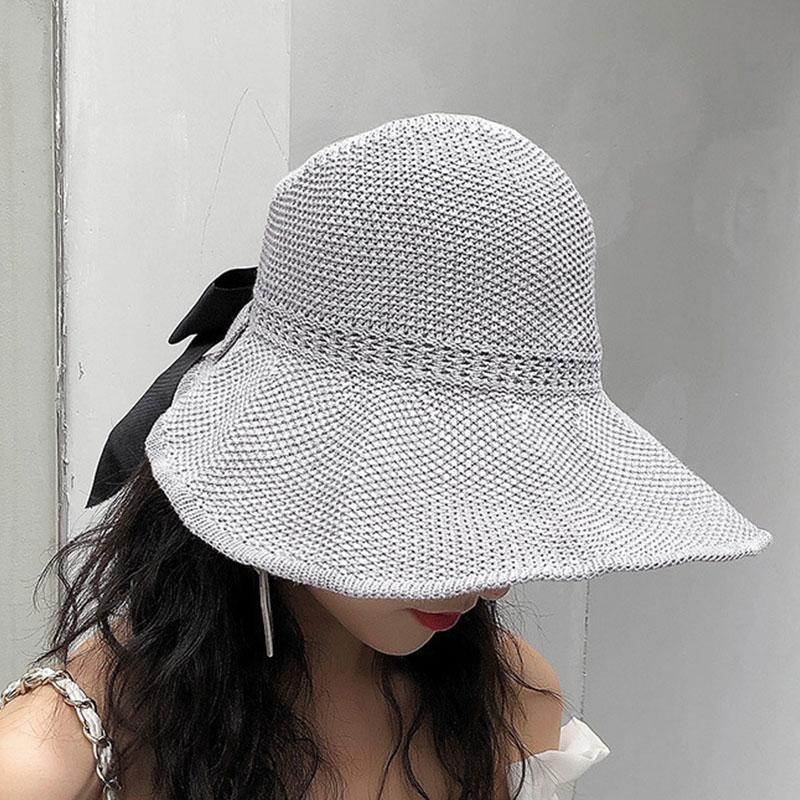 Kadınlar Casual Gölge Şapka Summer Sun Şapka Katlanabilir Straw Cap ile ilmek Kadın Geniş Siperlik Capsempty Üst Nefes Plaj Şapka