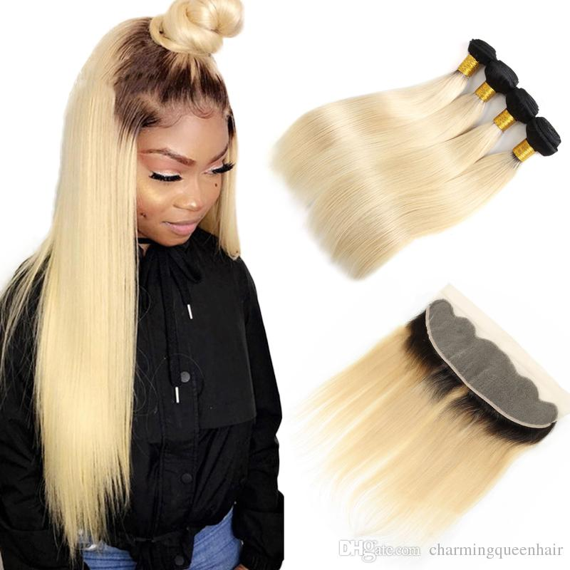 1b / 613 fasci capelli lisci brasiliani diritta dei capelli umani di Ombre con frontale frontale Ombre Estensione diritta dei capelli umani