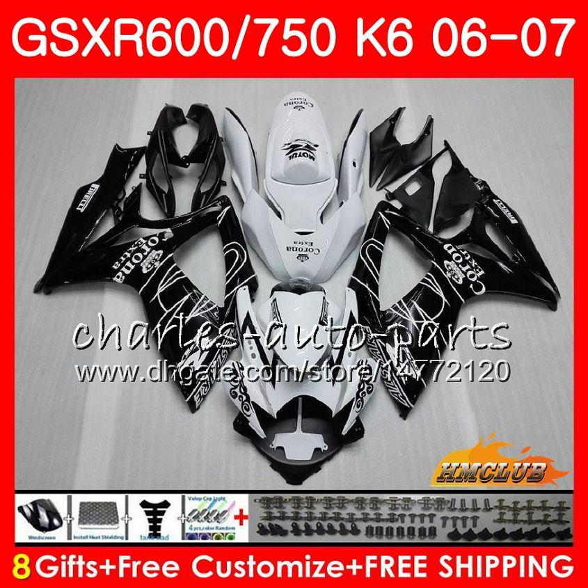 Kropp för SUZUKI GSX R600 GSX R750 GSXR600 2006 2007 8HC.4 GSX-R600 GSXR-750 K6 GSXR 600 750 06-07 GSXR750 06 07 Fairing Hot Black Sale Kit
