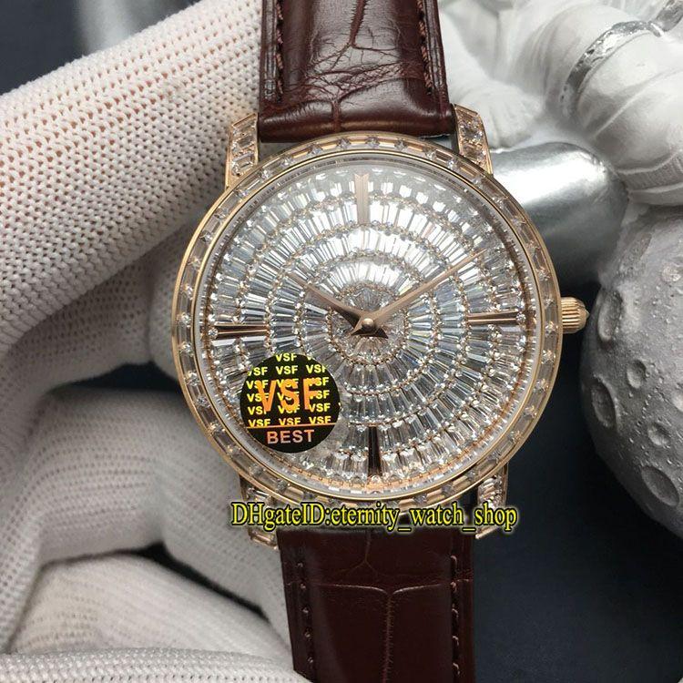 VSF топ версия Traditionnelle ювелирные изделия серии 82760 / 000G-9952 бриллианты циферблат Япония Miyota 9015 автоматический 28800 Vph мужские часы роскошные часы