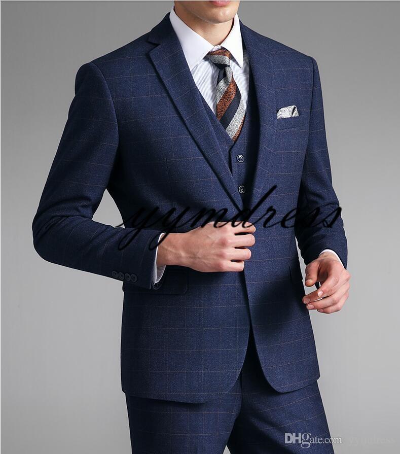 2019 Mavi Ekose Erkek Balo Smokin Çentikli Yaka Bir Düğme Custom Made Düğün Smokin Biçimsel erkekler Suits Üç parça (Ceket + Pantolon + Yelek + Tie)