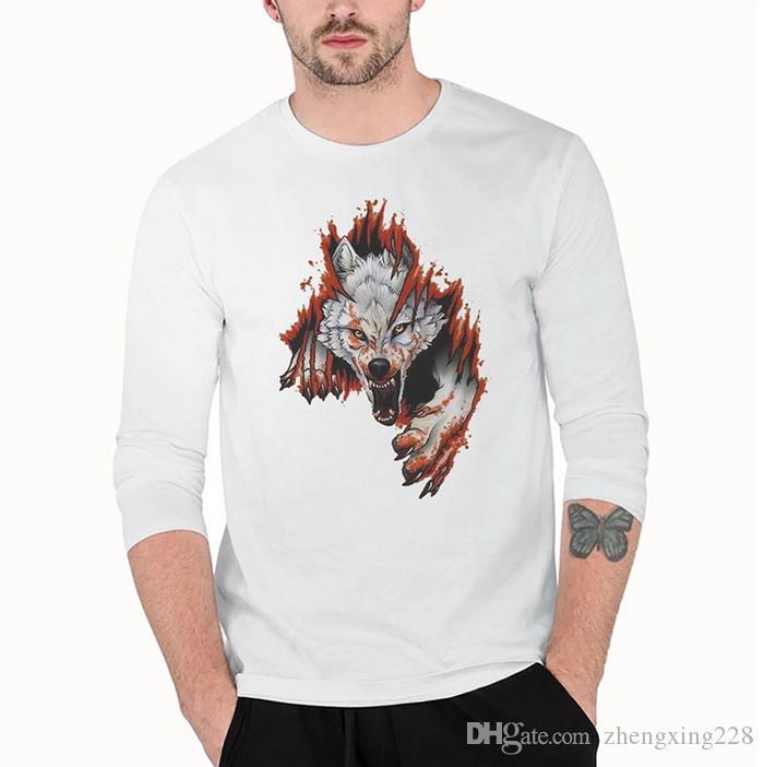 Nouveau Print Design Hommes Flamme Tête de Loup Imprimé À Manches Longues T-Shirt Jeunes Étudiants Col Rond Coton Bas Veste Sweat-Shirt