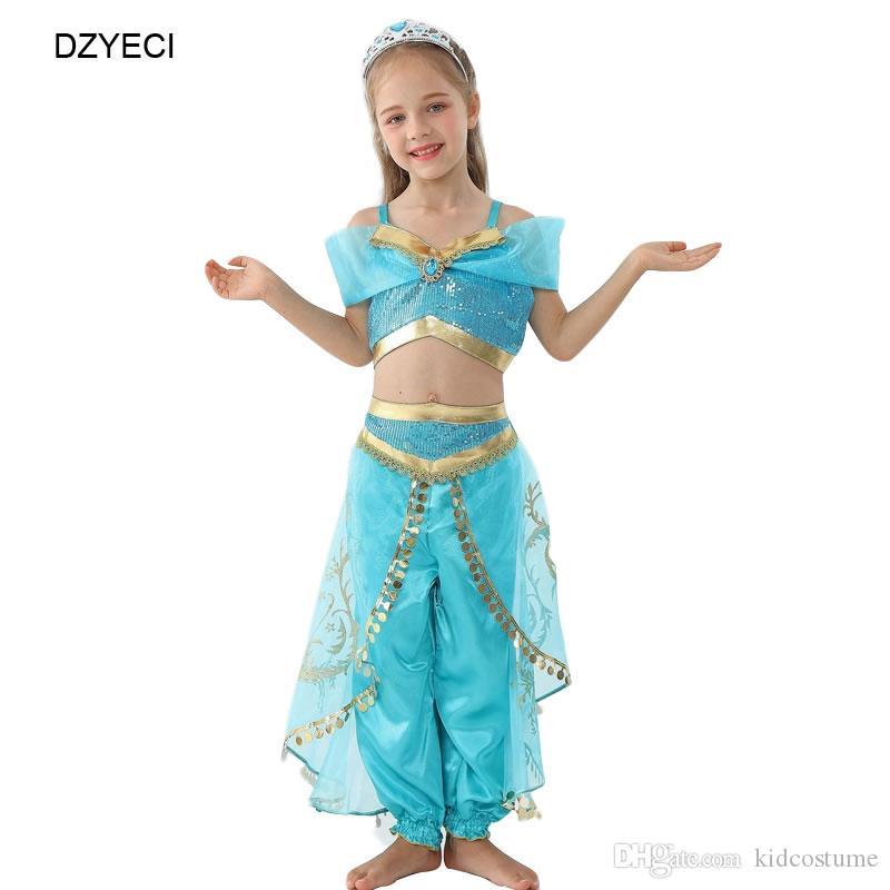 Aladdin Jasmine abiti da spiaggia per costume della ragazza di estate del bambino Kid Prom Top + Lace Pant 2PC Outfit Feste per Bambini Principessa Frock