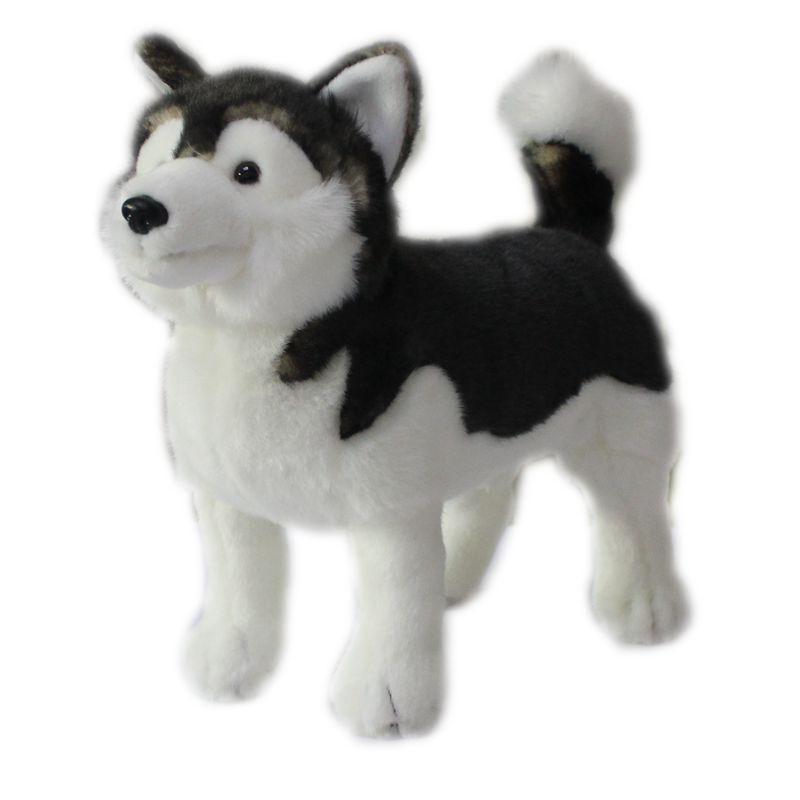 Моделирование животных Аляскинский собак Плюшевые игрушки Симпатичные ездовая щенок куклы для детей Рождество подарков Deco 28x25cm DY50825