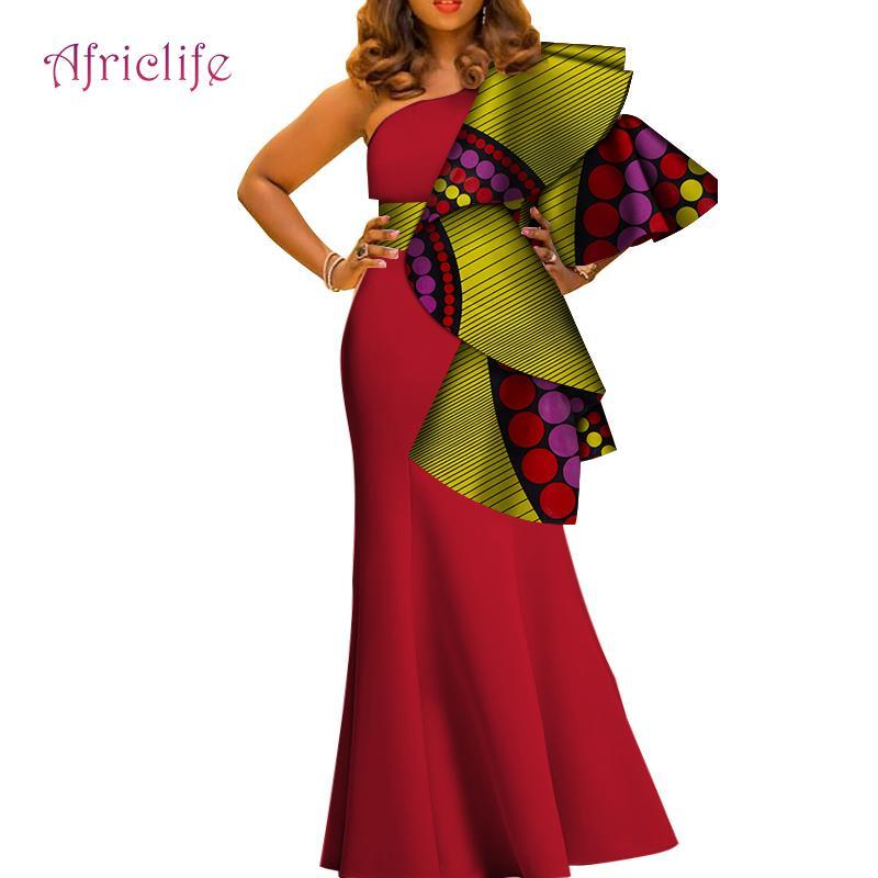 2019 Afrique longues robes pour les femmes de la mode une épaule Sexy Party Dress Imprimer les femmes africaines spécialement des vêtements conçus WY4120