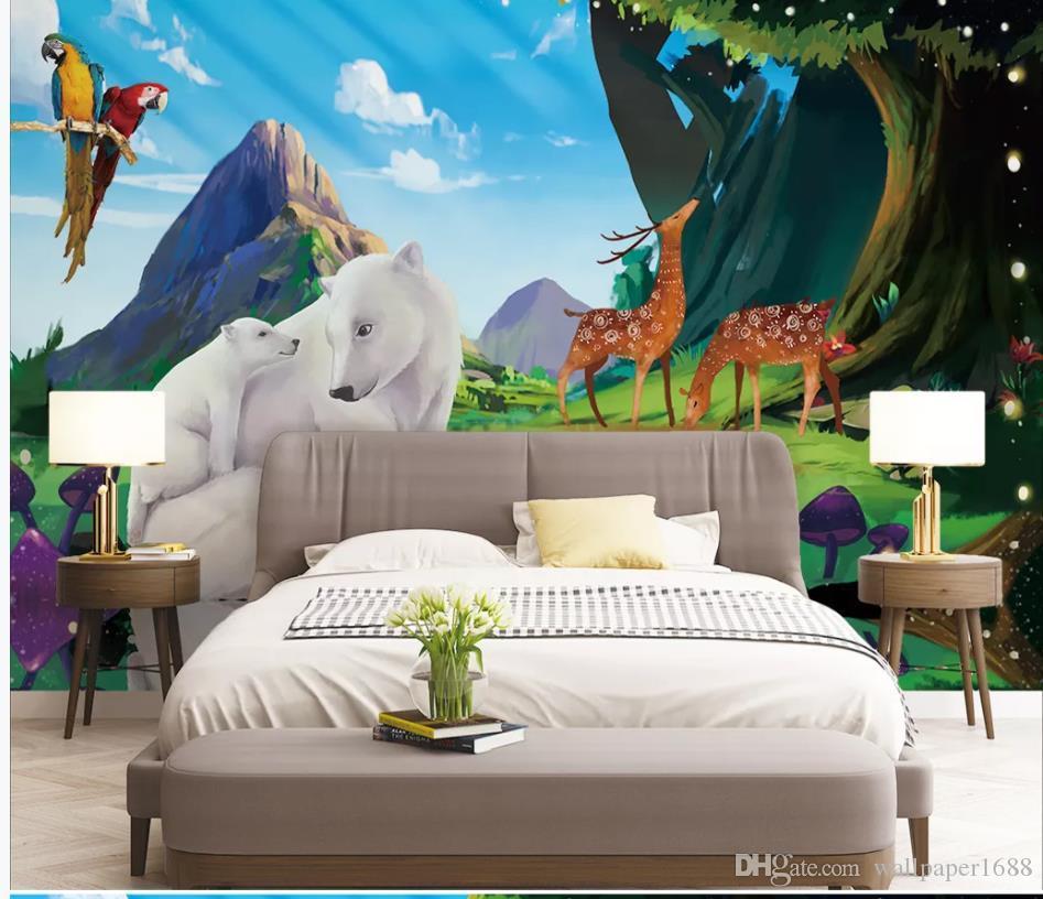 sfondi soggiorno moderno Disegnati a mano foresta animali bambini casa sfondo muro