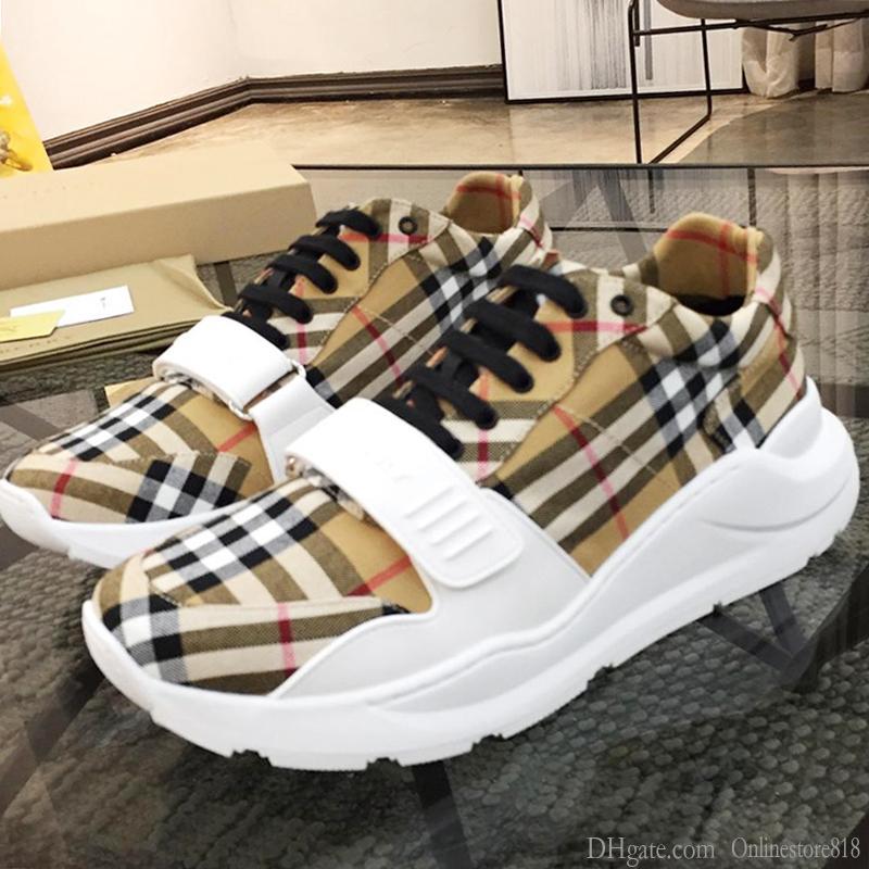 Hombres zapatillas de deporte de lujo transpirable Deportes Deportes de calidad superior de zapatos de hombre Sandalias Zapatos de la vendimia del cheque del algodón zapatillas de deporte zapatos para hombre BB495