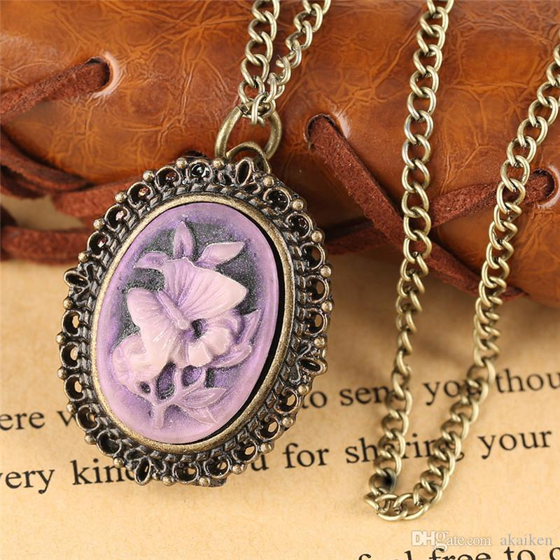 Retro Steampunk Purple Flower Butterfly Pattern Little Small Pocket Watch Necklace Pendant Quartz Watches Birthday Gift for Lady Girls