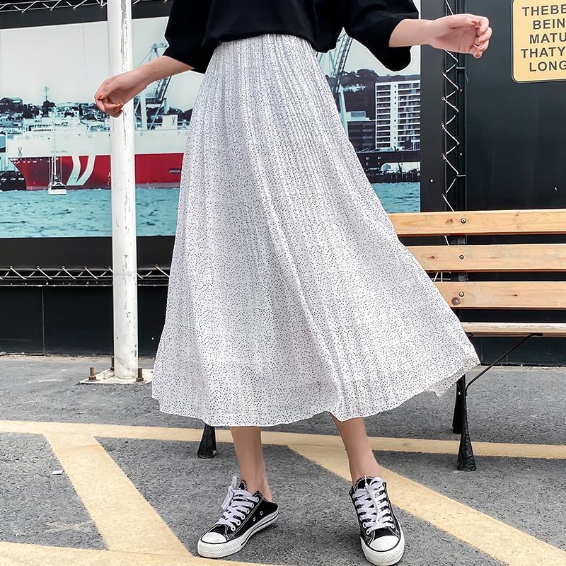 Women Skirt 2020 Spring Korean Version Chiffon Pleated Skirt Linen Wild High Waist Pleated Skirt White Blue