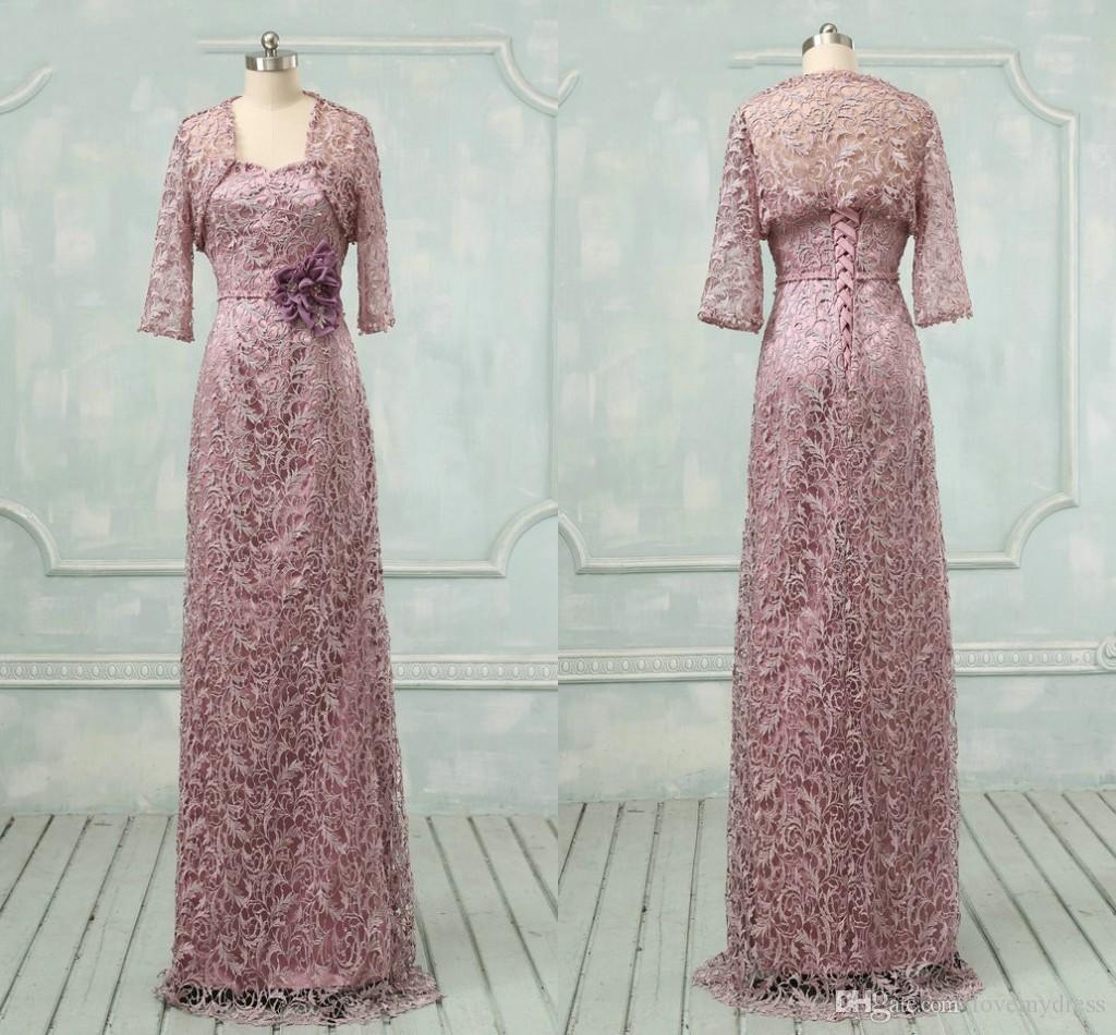 Encaje púrpura Perlas Madre de la novia Vestidos con chaqueta Bolero Hecho a mano Flores Vestidos formales de noche para madre Vestido de fiesta Talla grande