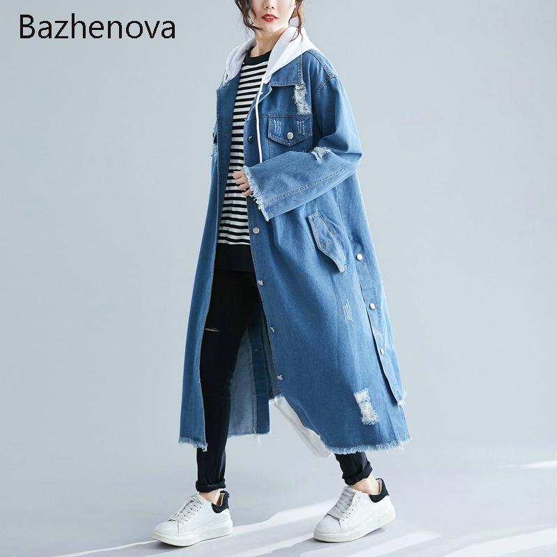 Bazhenova Kadın Uzun Ceket Kadınlar Kot Delik Gevşek Kapşonlu WINDBREAKER Kızlar Sonbahar Katı Renk Eklenmiş Jeckets Bayanlar R069 Tops