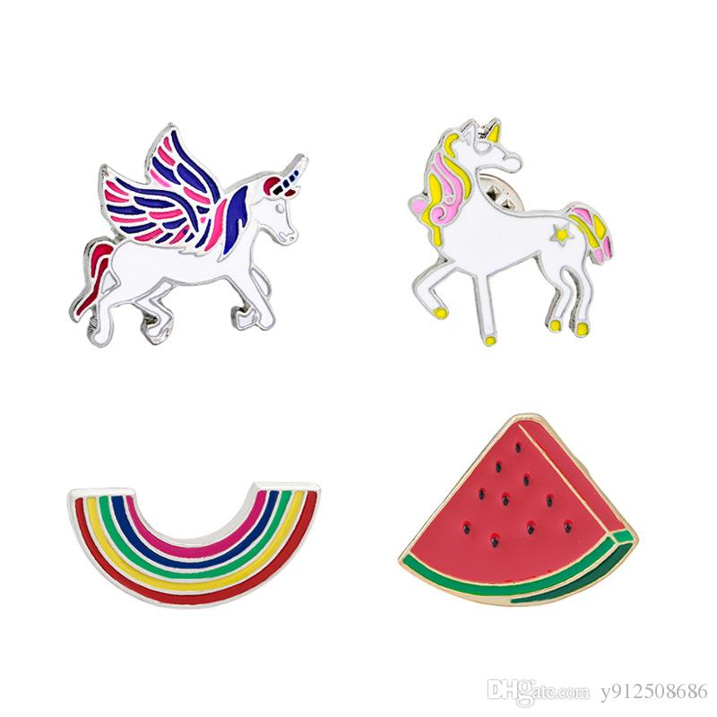 Personality Special Brooch Pink Yellow and Pink Blue Unicorn Pony Watermelon Rainbow Lapel Gift for Kids Girl Cute Pretty