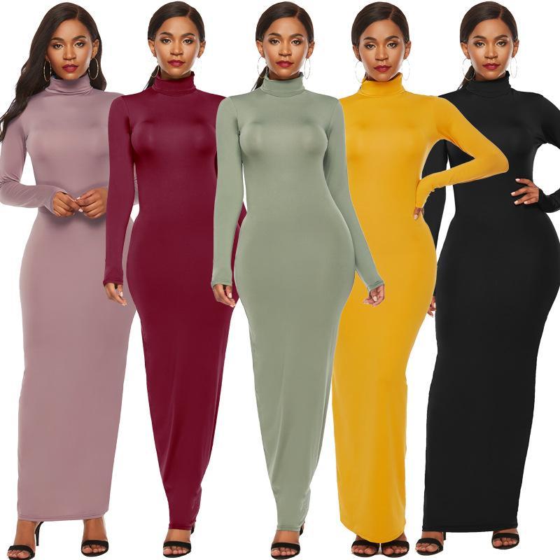 Mode européen et américain Hot femmes robe couleur solides manches longues extensible mince col roulé Robe