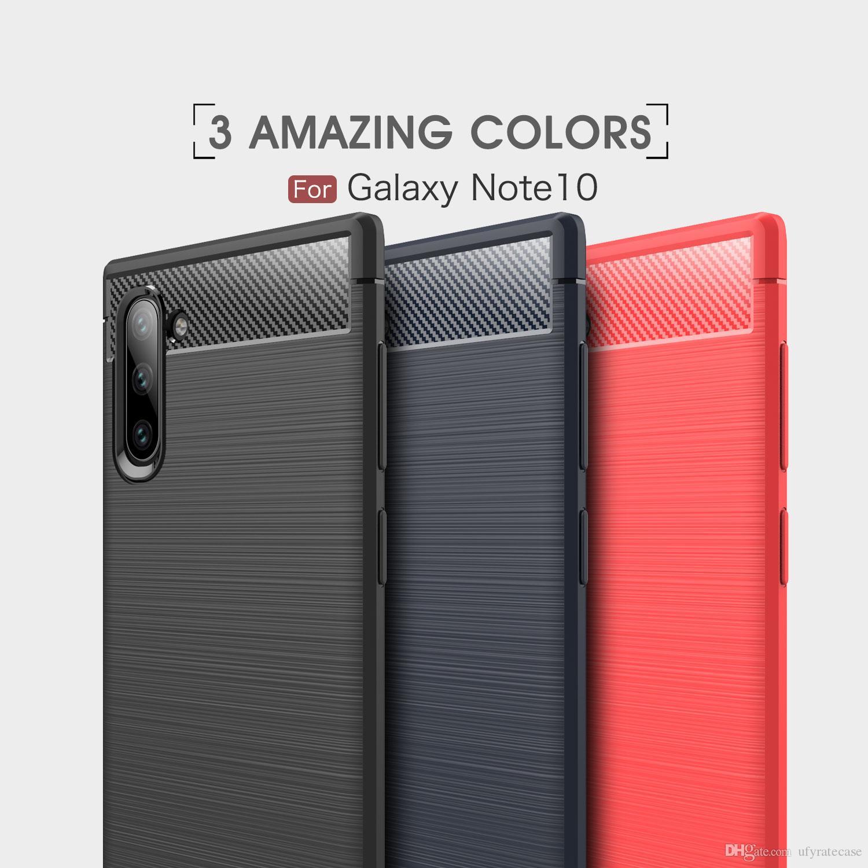 Brush Carbon Fiber Soft Case For Samsung Galaxy Note 10 Note 10 Plus S10 Plus S10E A70 A50 A40 A30 A20E A10E S9