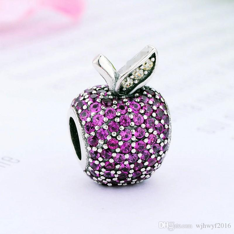New Authentic 925 Sterling Silver Bead Charm Pave Wine Red Fruit With Crystal Beads Fit European Women Bracelet Bangle DIY Jewelry Making