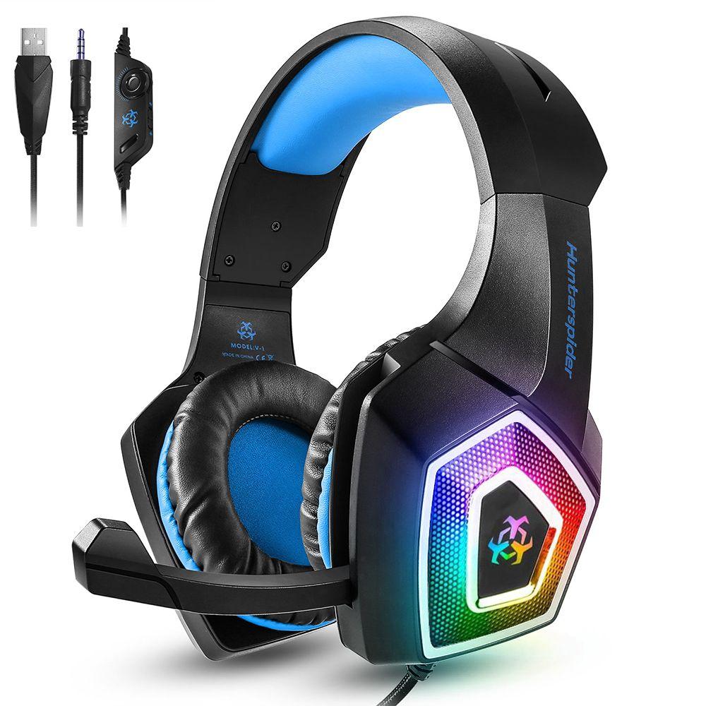 مضيئة ملونة V1 الألعاب سماعة الأذن أكثر من سماعات الرأس السلكية السيطرة مع هيئة التصنيع العسكري LED ضوء Casque على سماعة نقاط لPC PS4 إكس بوكس اعبة واحدة