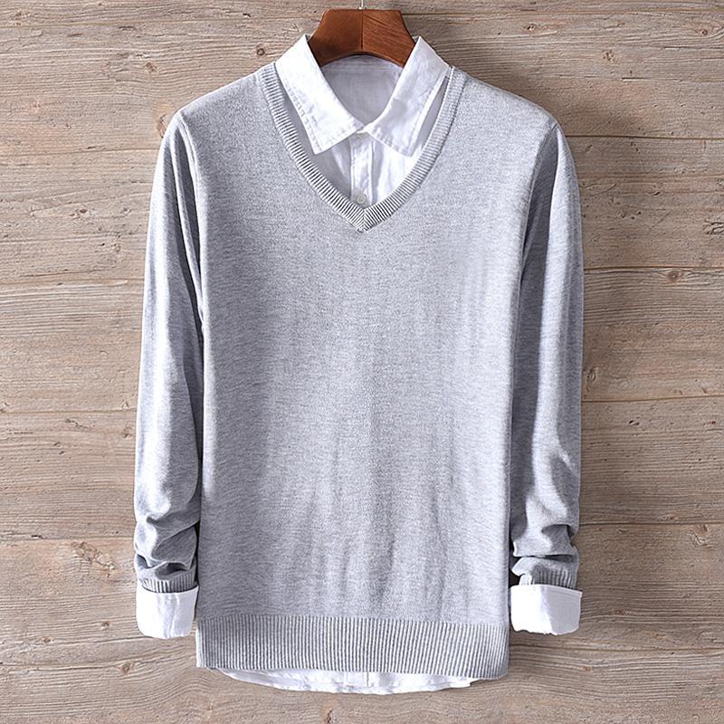 2018 otoño y el invierno nuevo v-cuello de algodón del swearter tendencia de los hombres delgados suéteres de punto los hombres de la moda sólida chandail Trui