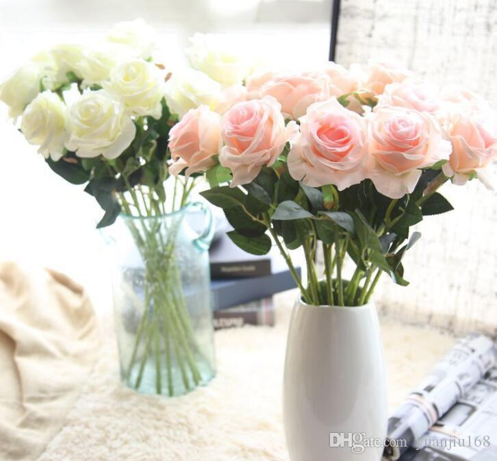 52cm Artificial Rose Flannelette Flower Branch Rose Decorative Flowers Wedding Christmas Festival DIY Decoration 6 colours GB790