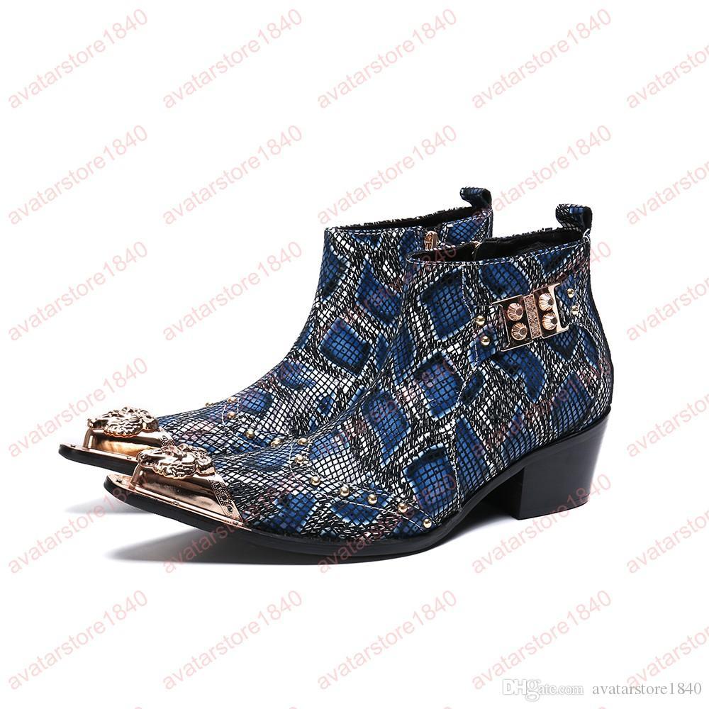 Imprimir Zapatos de hombre Botas de cuero genuino Nueva moda Rivtes Botas de punta puntiaguda de metal Botas cortas con cremallera