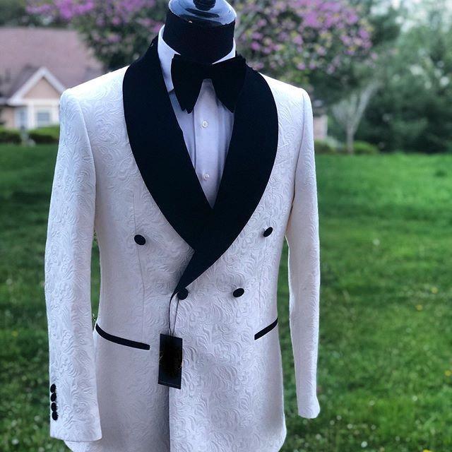 Herrenanzüge Blazer Arrvial handgemachte weißes Paisley mit schwarzem Satinschal Revers 2 Stück (Jacke + Hose) Dinneranzug für Männer Hochzeit