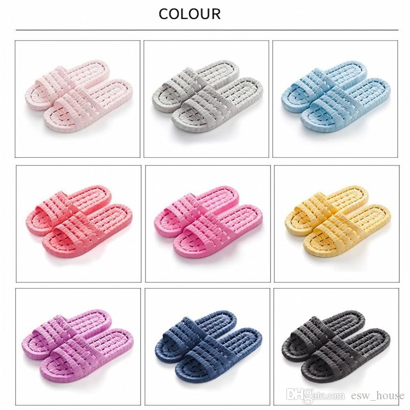 Summer Casual Sandals Indoor Flats Non - slip Massage Slippers men and women home slippers Adult hollow indoor Shoes